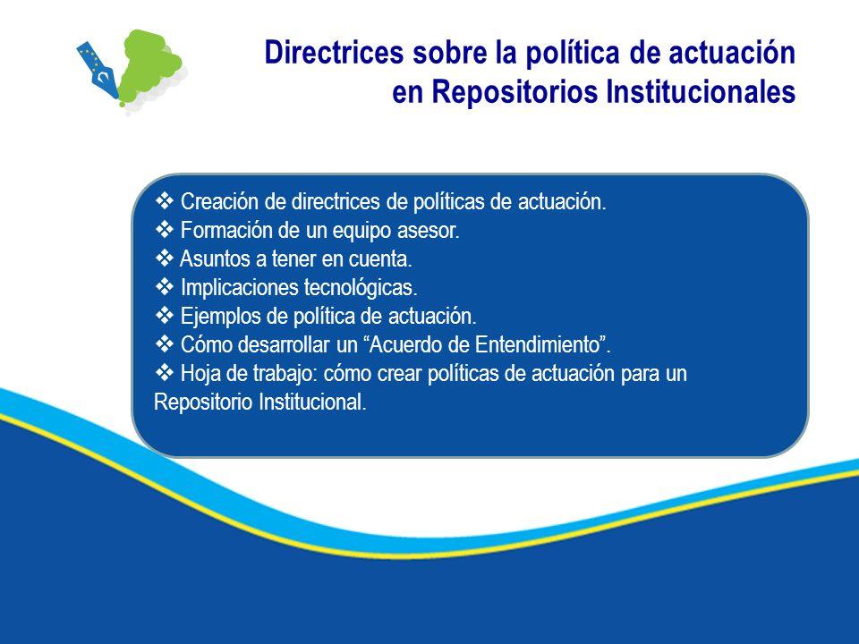 Directrices sobre la política de actuación en Repositorios Institucionales