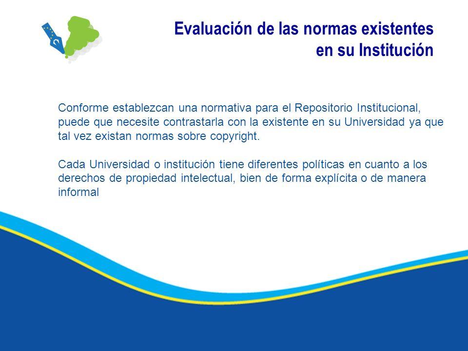 Evaluación de las normas existentes en su Institución