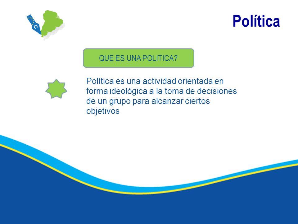 Política QUE ES UNA POLITICA