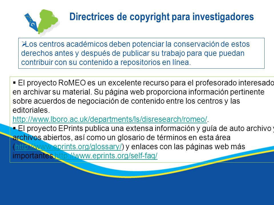 Directrices de copyright para investigadores