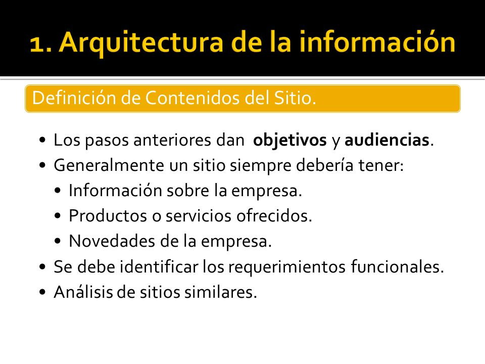 1. Arquitectura de la información