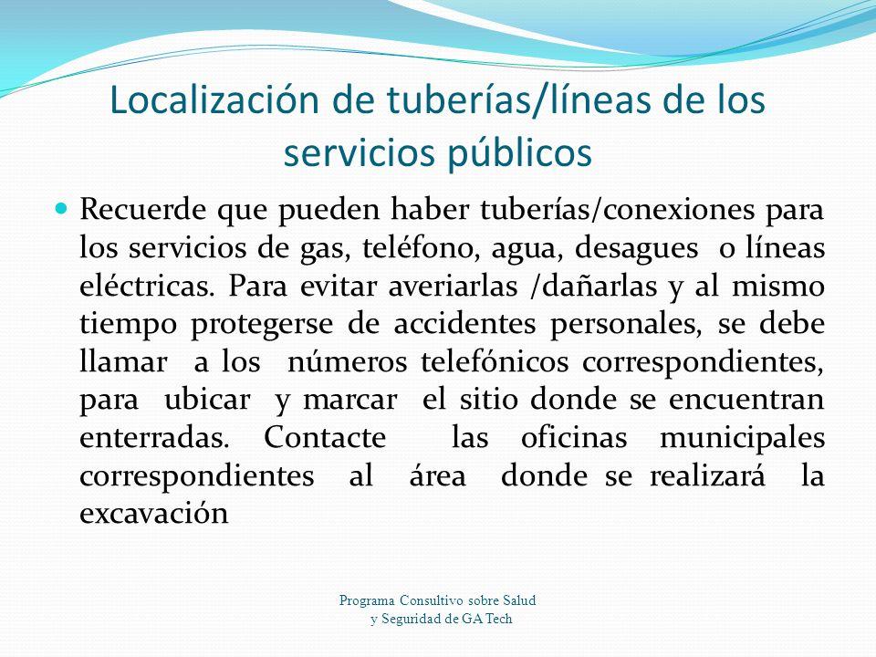 Localización de tuberías/líneas de los servicios públicos