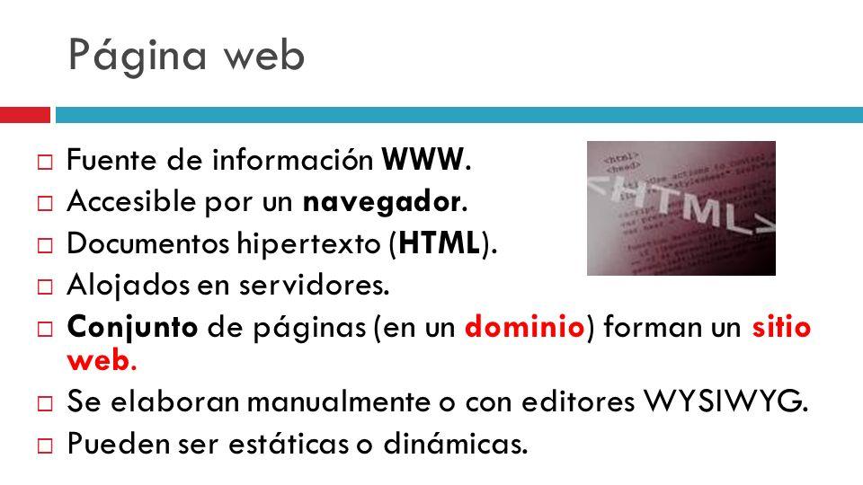 Página web Fuente de información WWW. Accesible por un navegador.