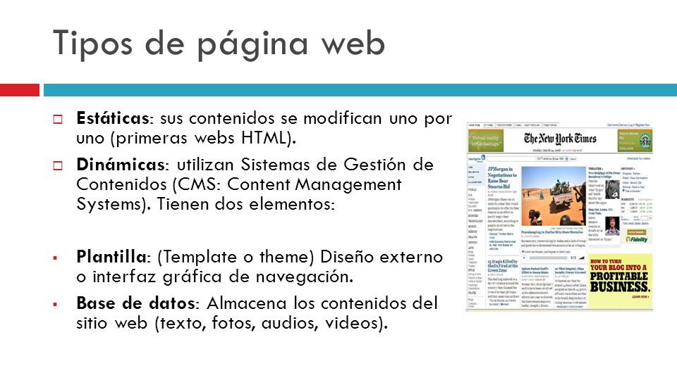 Tipos de página web Estáticas: sus contenidos se modifican uno por uno (primeras webs HTML).