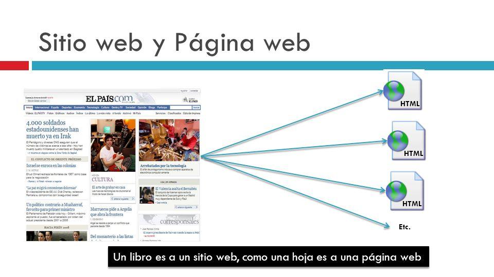 Sitio web y Página web HTML. HTML. HTML. Etc.