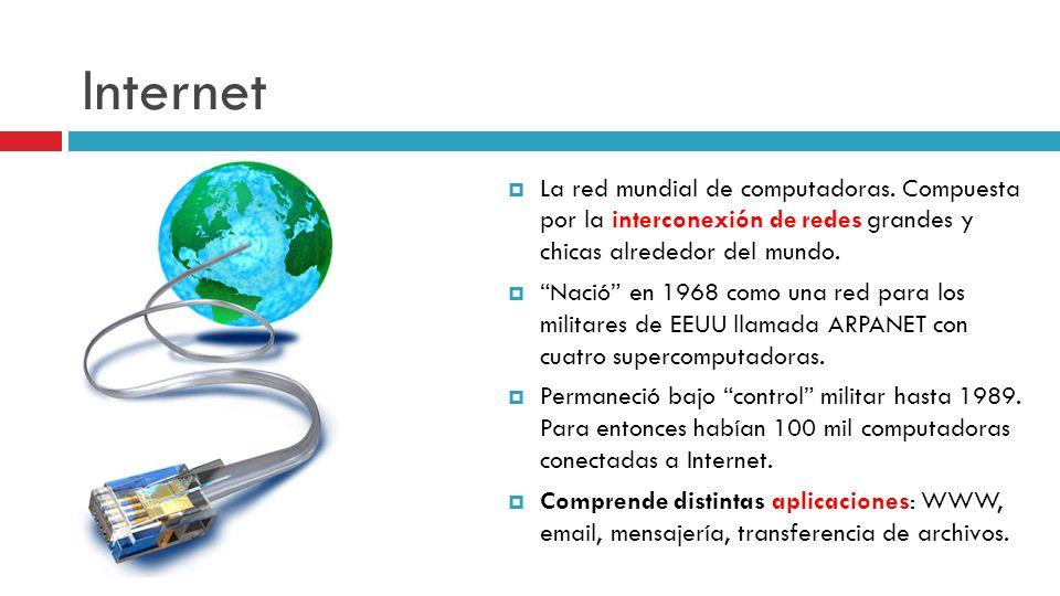 Internet La red mundial de computadoras. Compuesta por la interconexión de redes grandes y chicas alrededor del mundo.