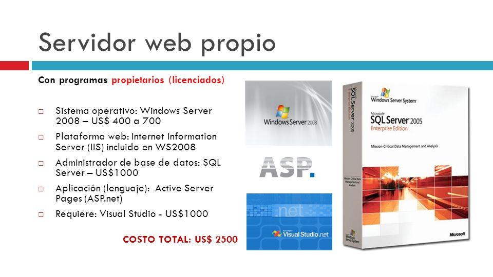 Servidor web propio Con programas propietarios (licenciados)