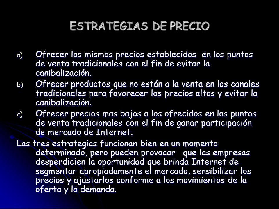 ESTRATEGIAS DE PRECIO Ofrecer los mismos precios establecidos en los puntos de venta tradicionales con el fin de evitar la canibalización.