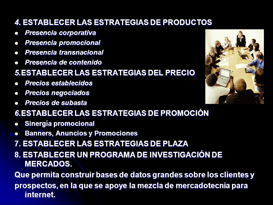 4. ESTABLECER LAS ESTRATEGIAS DE PRODUCTOS