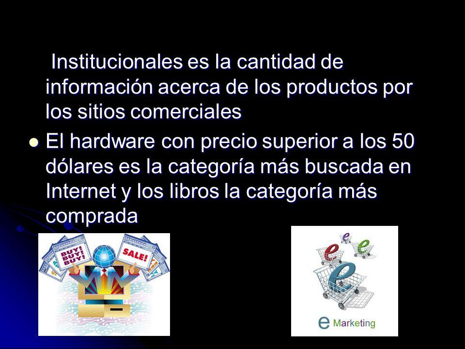Institucionales es la cantidad de información acerca de los productos por los sitios comerciales