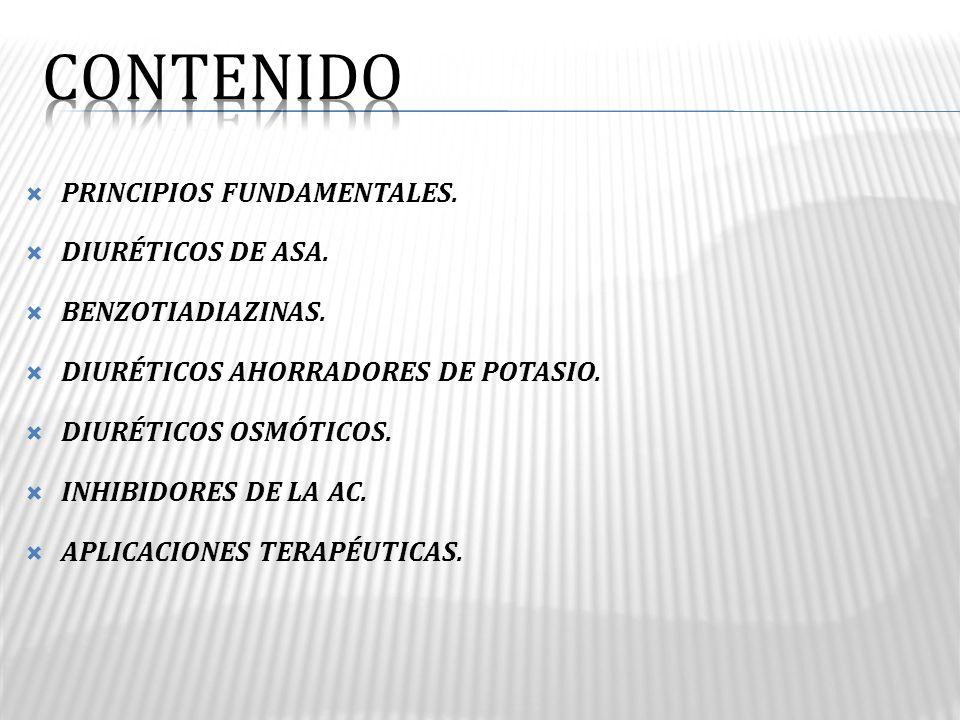 CONTENIDO PRINCIPIOS FUNDAMENTALES. DIURÉTICOS DE ASA.
