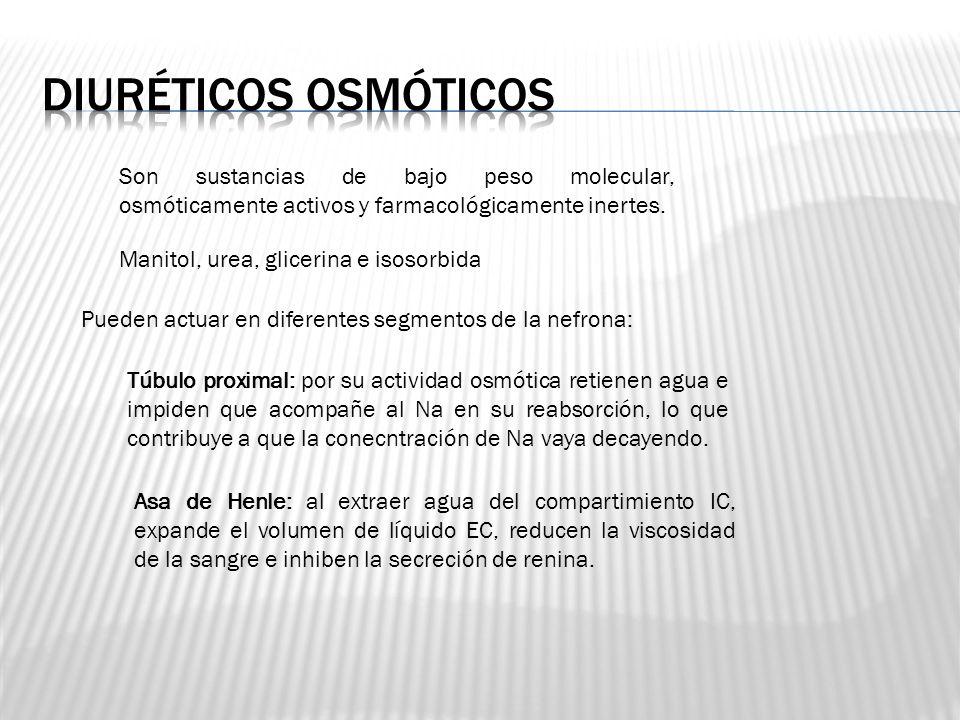 Diuréticos osmóticos Son sustancias de bajo peso molecular, osmóticamente activos y farmacológicamente inertes.