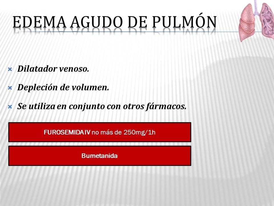 FUROSEMIDA IV no más de 250mg/1h