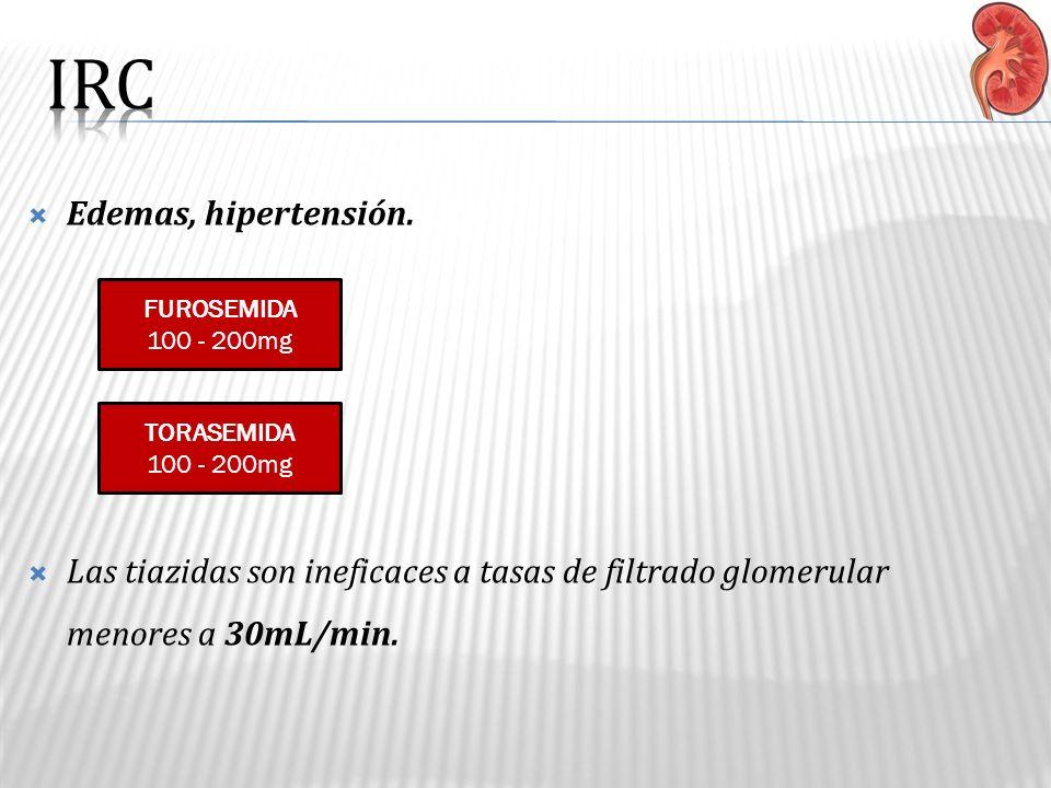 IRC Edemas, hipertensión.