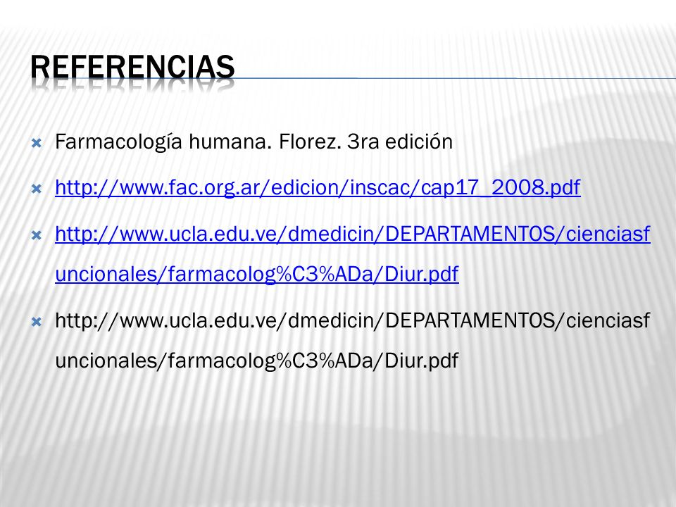 Referencias Farmacología humana. Florez. 3ra edición