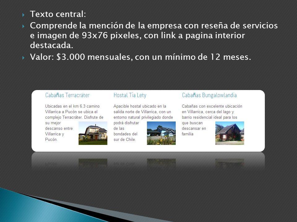 Texto central: Comprende la mención de la empresa con reseña de servicios e imagen de 93x76 pixeles, con link a pagina interior destacada.