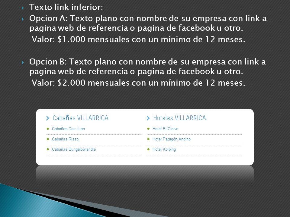 Texto link inferior: Opcion A: Texto plano con nombre de su empresa con link a pagina web de referencia o pagina de facebook u otro.