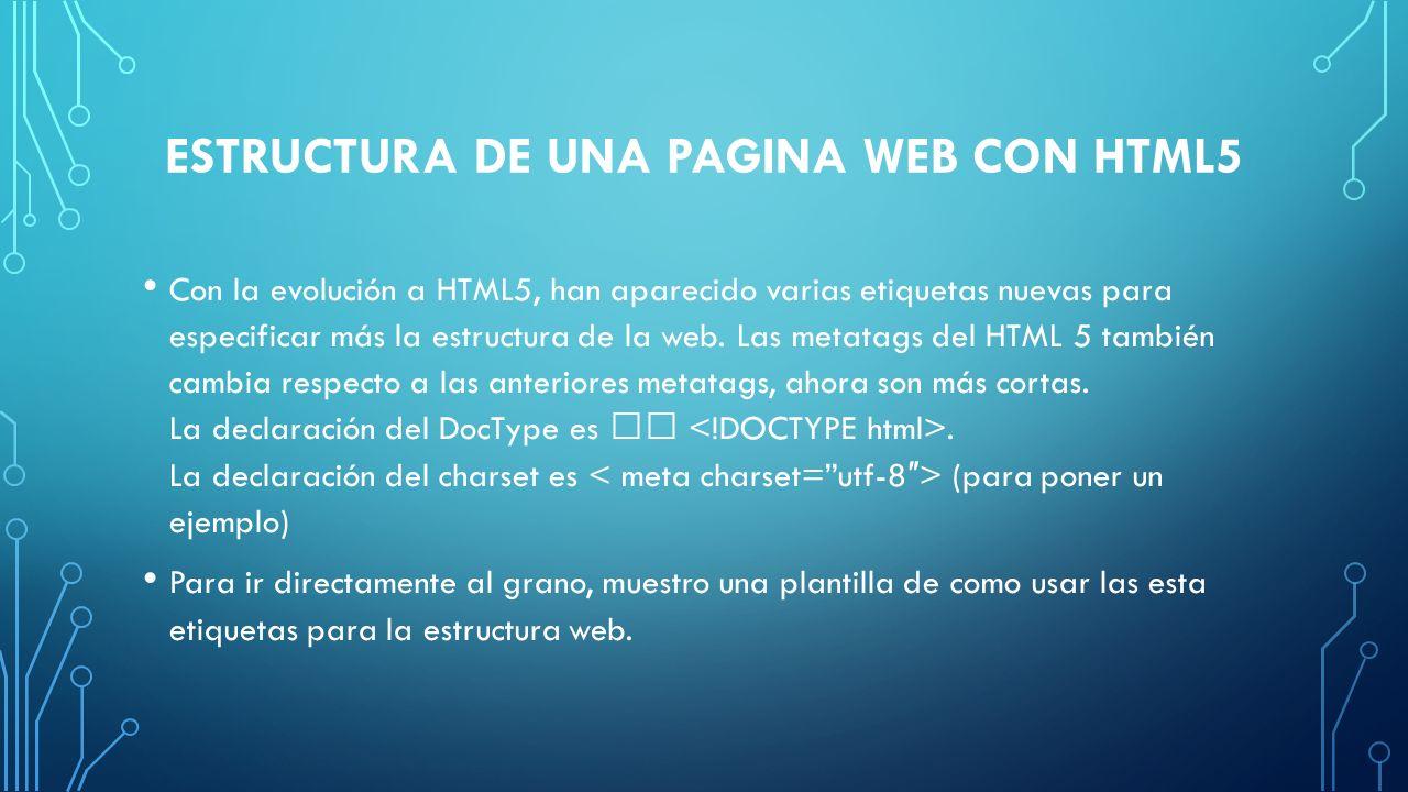 Estructura de una pagina web con HTML5