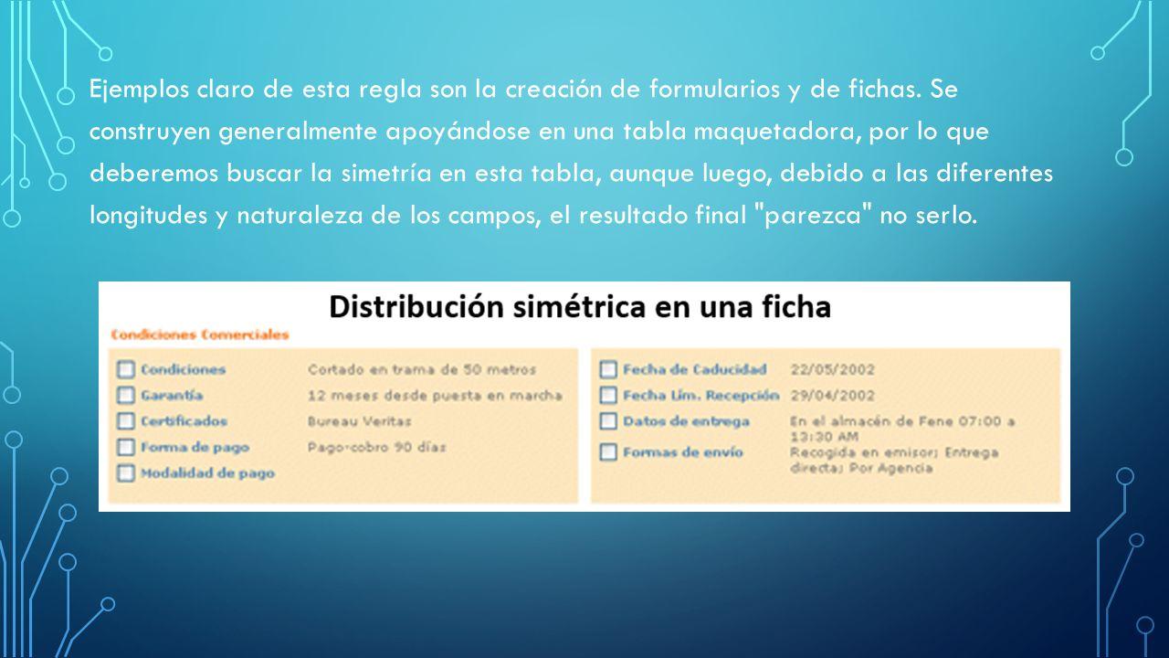 Ejemplos claro de esta regla son la creación de formularios y de fichas.