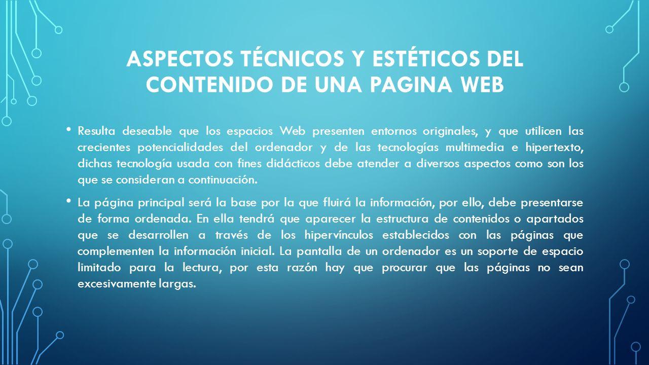 ASPECTOS TÉCNICOS Y ESTÉTICOS DEL CONTENIDO DE UNA PAGINA WEB