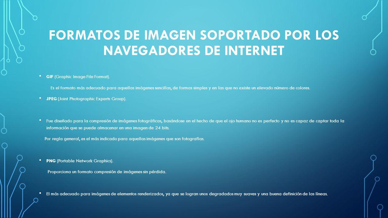 FORMATOS DE IMAGEN SOPORTADO POR LOS NAVEGADORES DE INTERNET