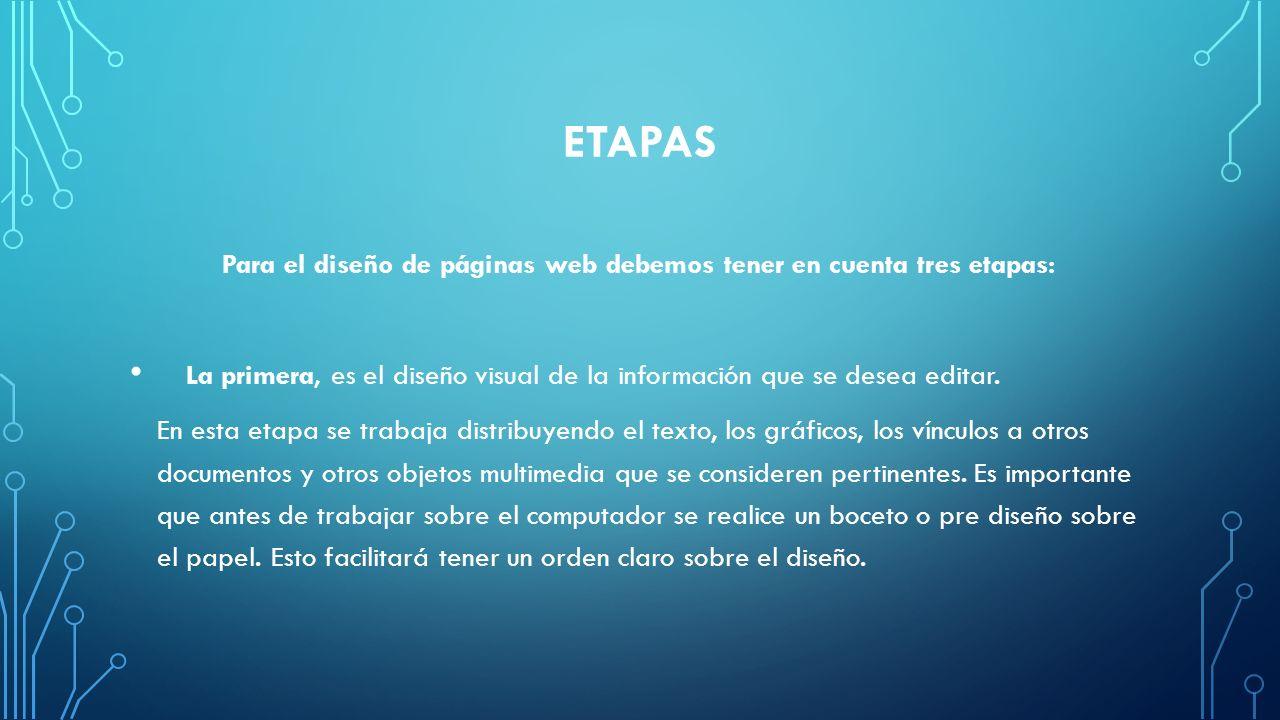 Para el diseño de páginas web debemos tener en cuenta tres etapas: