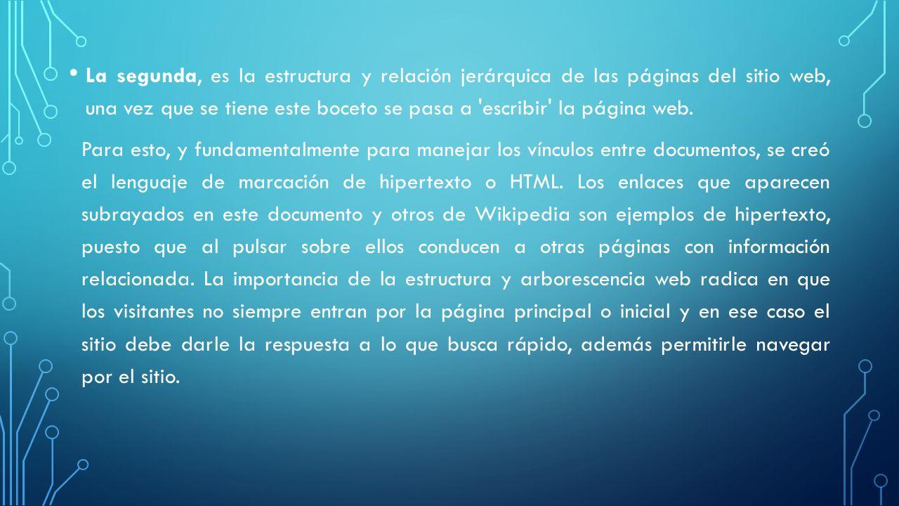 La segunda, es la estructura y relación jerárquica de las páginas del sitio web, una vez que se tiene este boceto se pasa a escribir la página web.