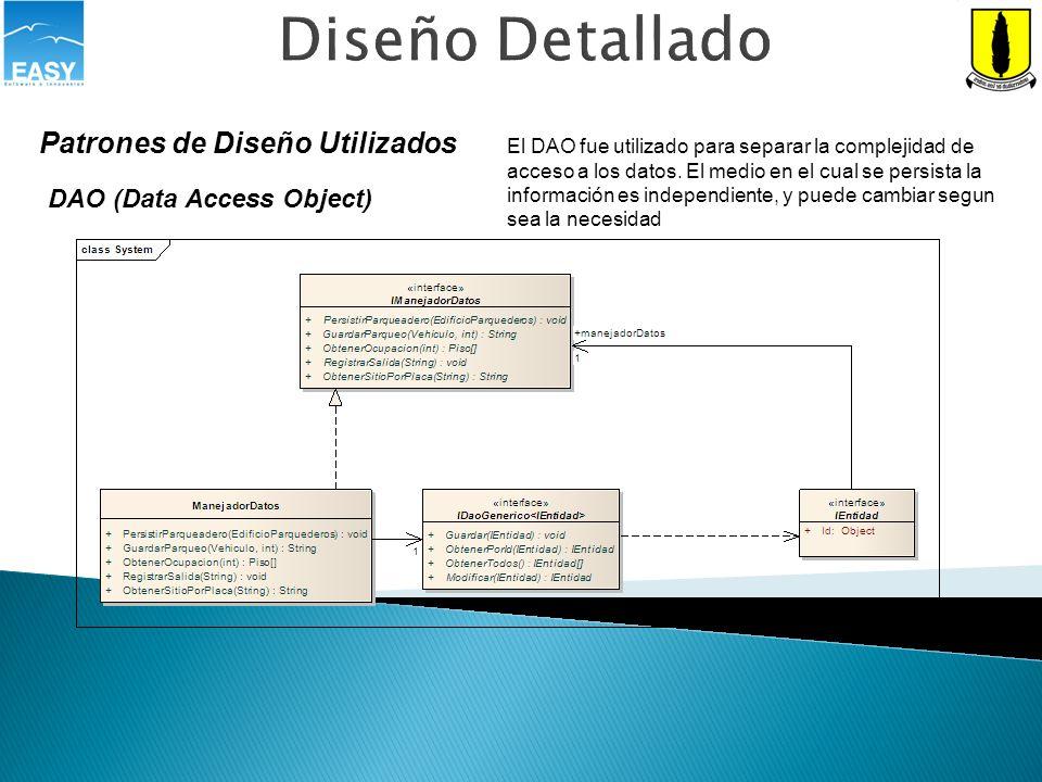 Diseño Detallado Patrones de Diseño Utilizados
