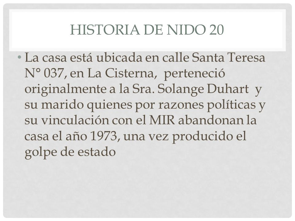HISTORIA DE NIDO 20
