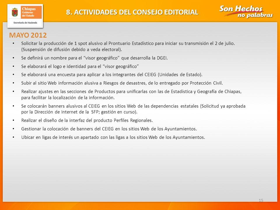 8. ACTIVIDADES DEL CONSEJO EDITORIAL