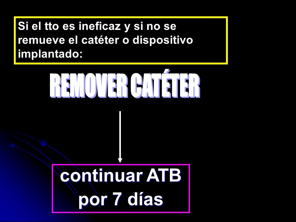 continuar ATB por 7 días REMOVER CATÉTER