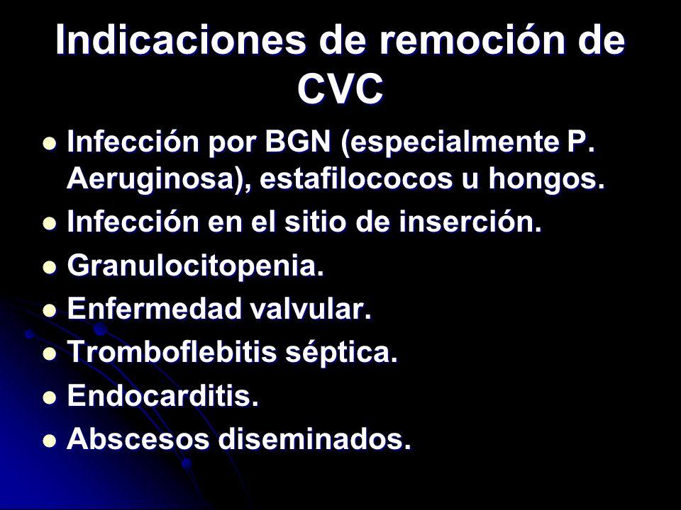 Indicaciones de remoción de CVC