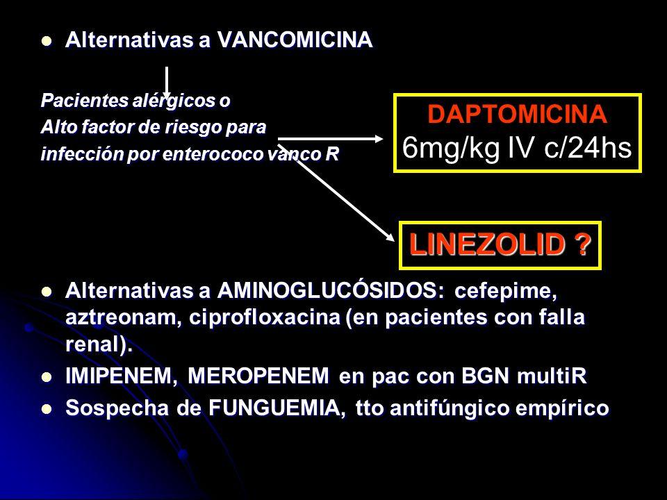 6mg/kg IV c/24hs LINEZOLID DAPTOMICINA Alternativas a VANCOMICINA