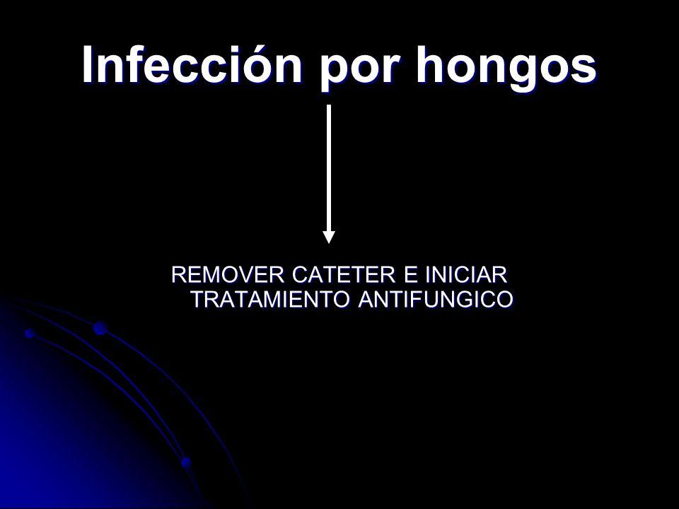REMOVER CATETER E INICIAR TRATAMIENTO ANTIFUNGICO