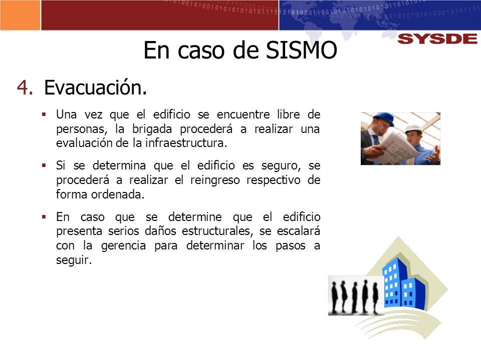 En caso de SISMO Evacuación.