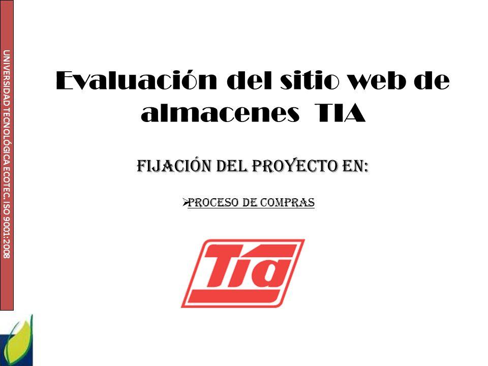 Evaluación del sitio web de almacenes TIA