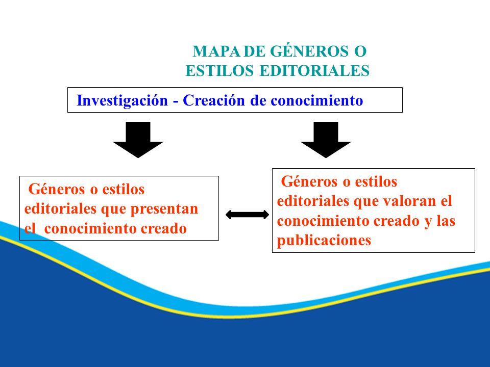 MAPA DE GÉNEROS O ESTILOS EDITORIALES