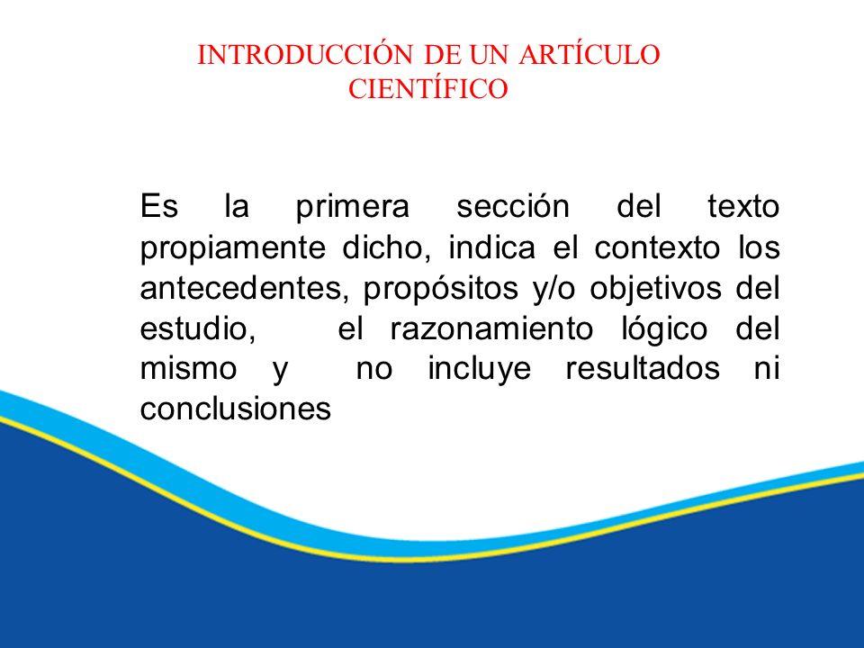 INTRODUCCIÓN DE UN ARTÍCULO CIENTÍFICO