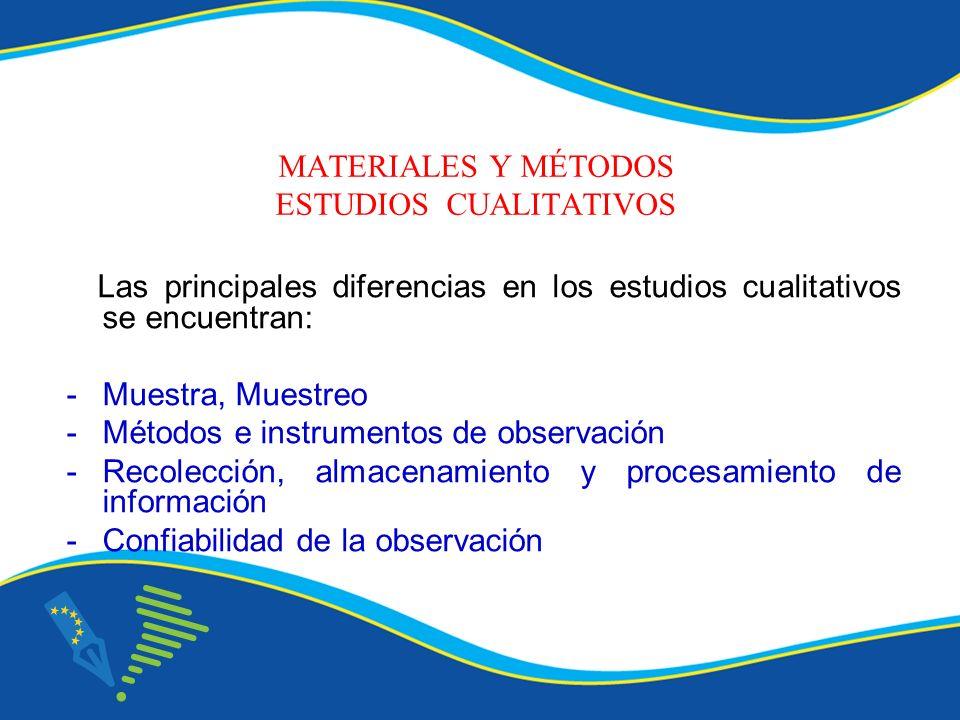 MATERIALES Y MÉTODOS ESTUDIOS CUALITATIVOS