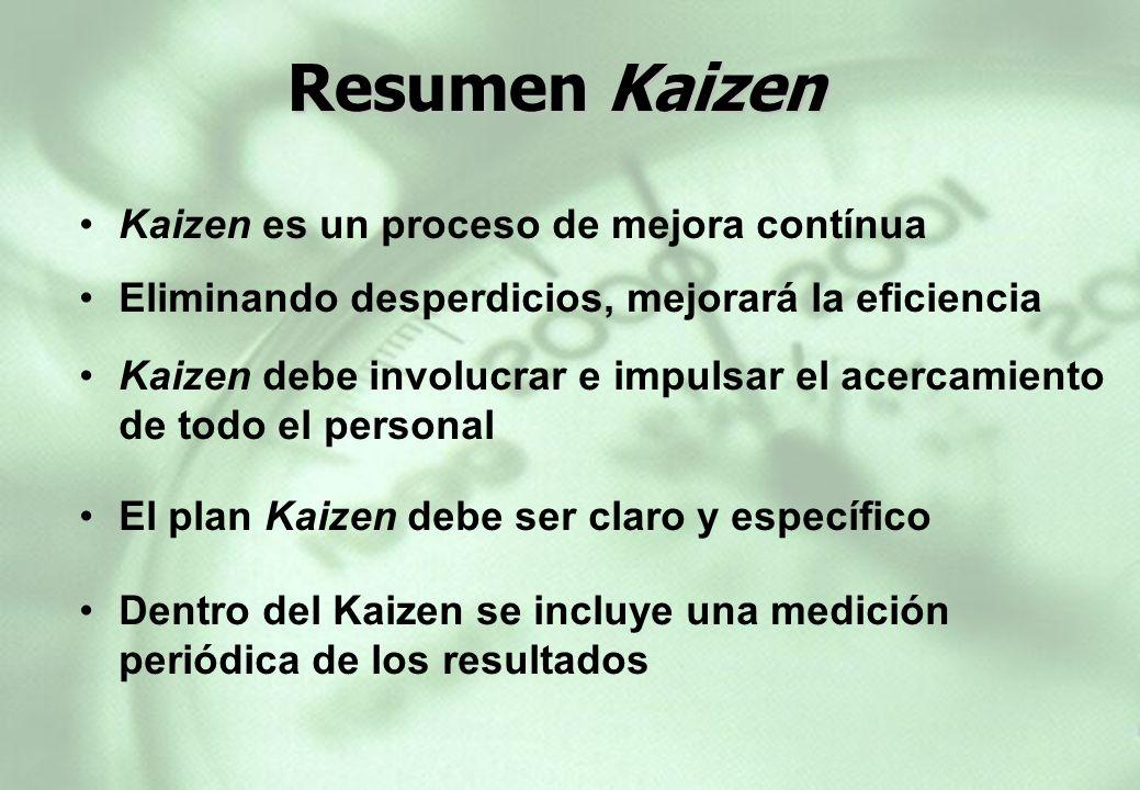 Resumen Kaizen Kaizen es un proceso de mejora contínua