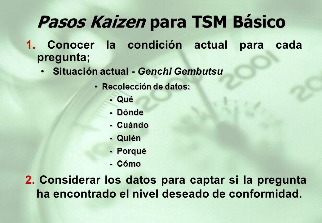 Pasos Kaizen para TSM Básico
