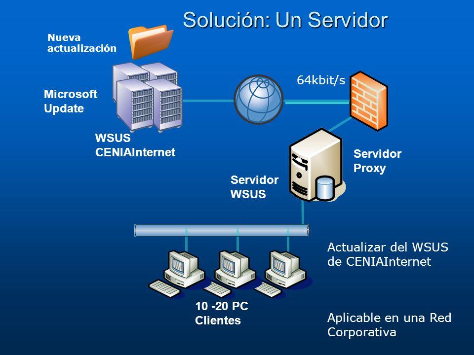 Solución: Un Servidor 64kbit/s Microsoft Update WSUS CENIAInternet