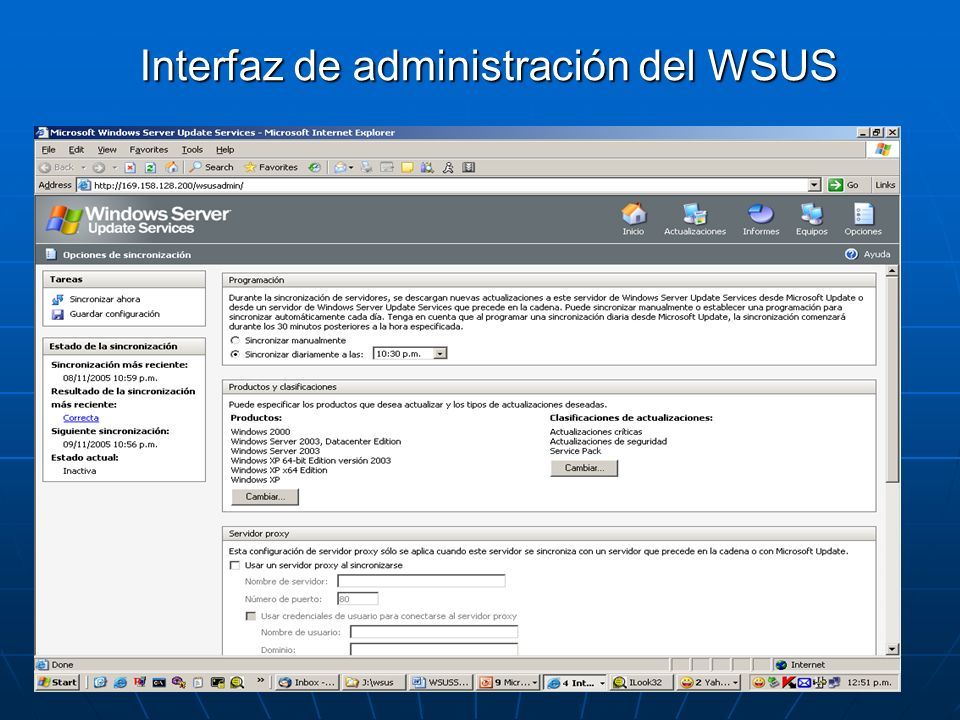 Interfaz de administración del WSUS