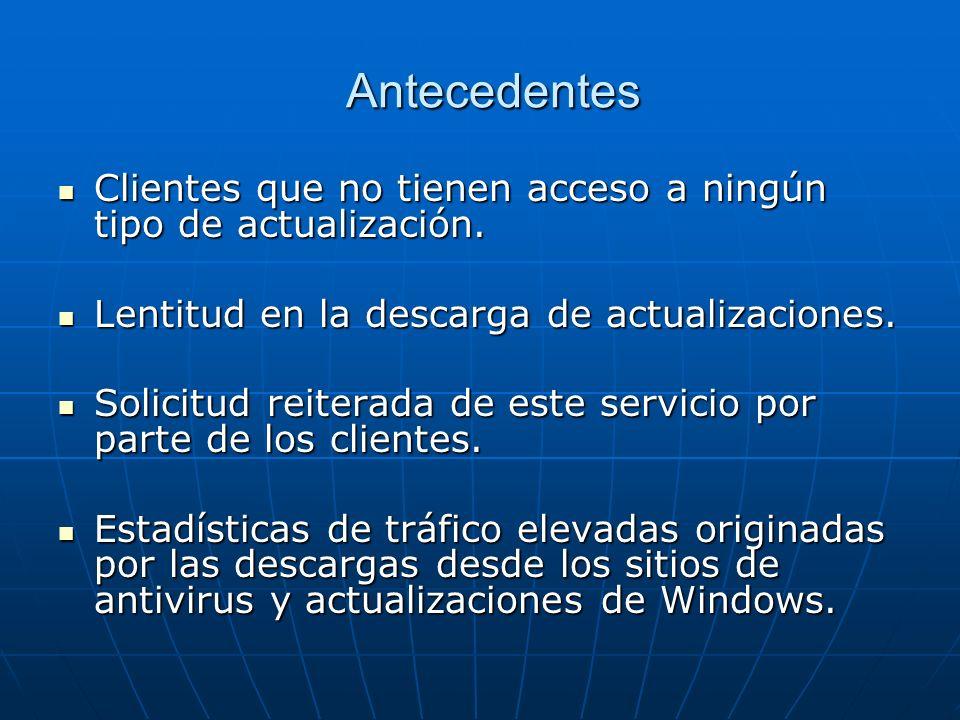 AntecedentesClientes que no tienen acceso a ningún tipo de actualización. Lentitud en la descarga de actualizaciones.