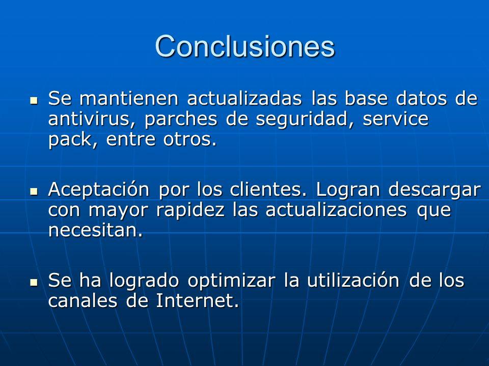 Conclusiones Se mantienen actualizadas las base datos de antivirus, parches de seguridad, service pack, entre otros.