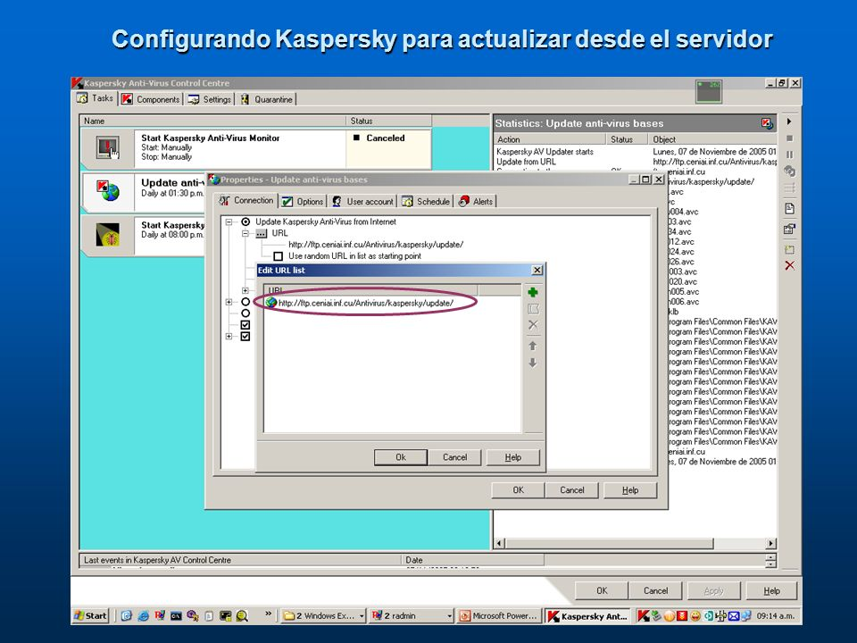 Configurando Kaspersky para actualizar desde el servidor