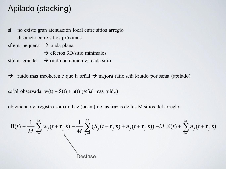 Apilado (stacking) si no existe gran atenuación local entre sitios arreglo. distancia entre sitios próximos.