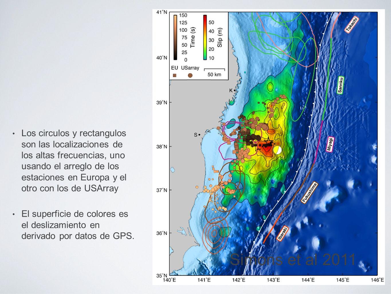 Los circulos y rectangulos son las localizaciones de los altas frecuencias, uno usando el arreglo de los estaciones en Europa y el otro con los de USArray