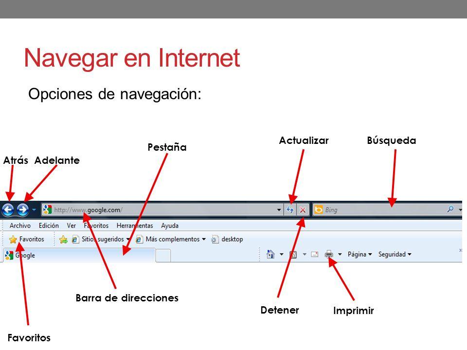 Navegar en Internet Opciones de navegación: Actualizar Búsqueda