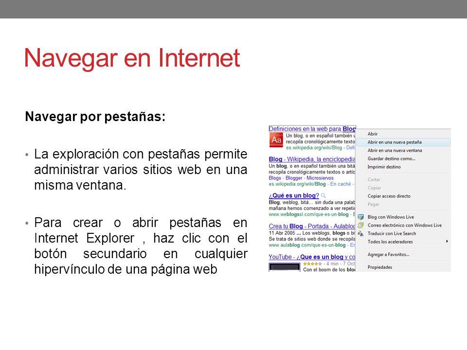 Navegar en Internet Navegar por pestañas: